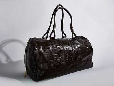 Dark brown croc calf leather drivers holdall