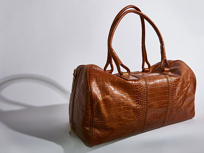 Tan croc calf leather drivers holdall