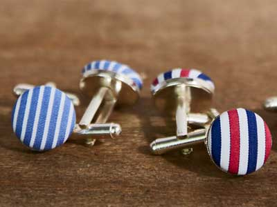 Custom-made fabric covered sterling silver cufflinks